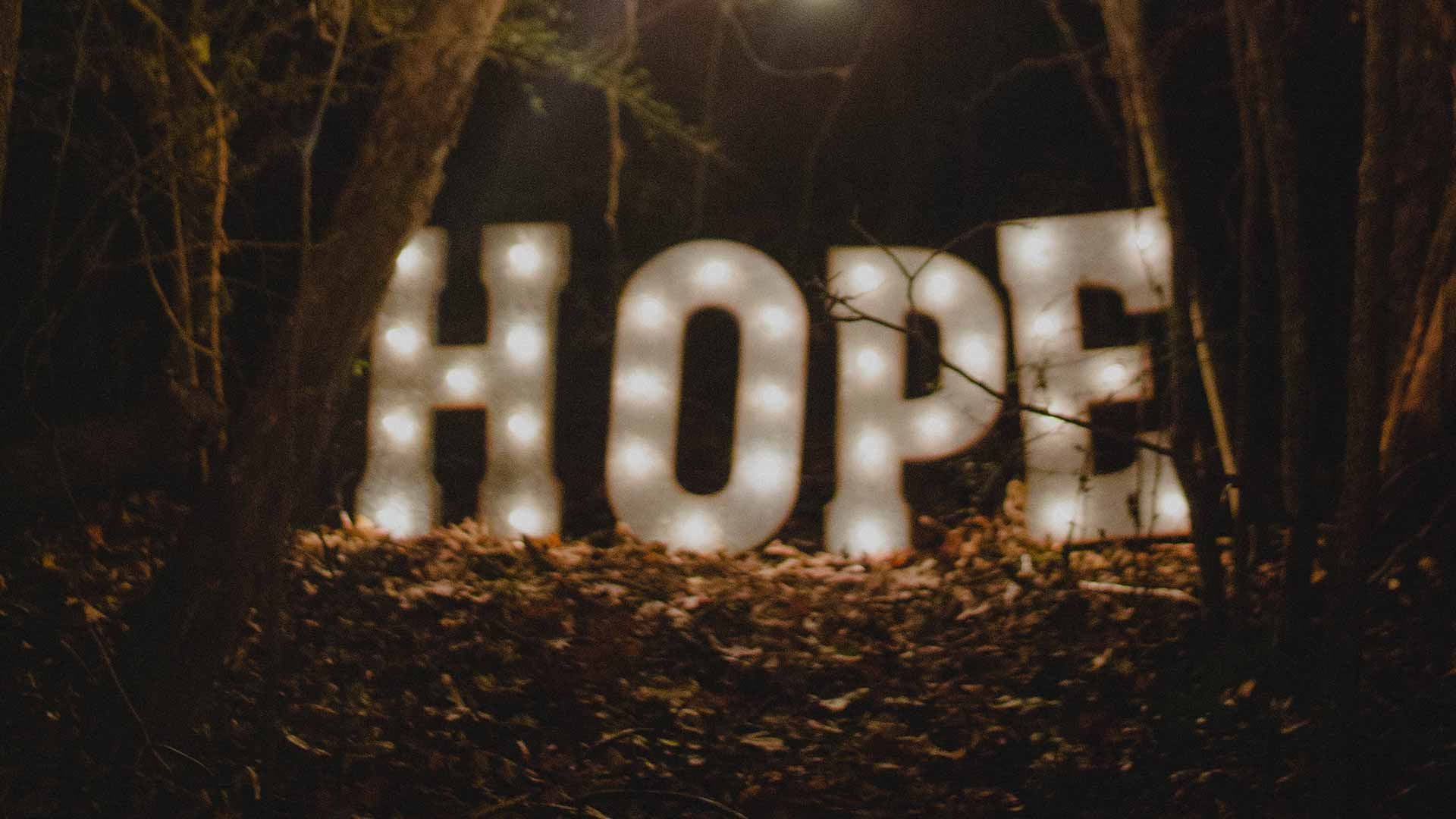 lighted letters that spell hope